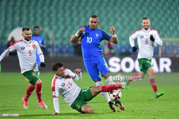 Dimitri Payet of France and Vasil Bozhikov of Bulgaria during the Fifa 2018 World Cup qualifying match between Bulgaria and France on October 7 2017...