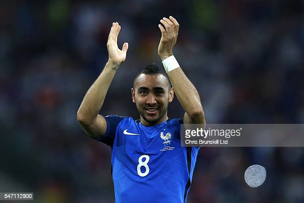 Dimitri Payet of France celebrates at fulltime following the UEFA Euro 2016 Semi Final match between Germany and France at Stade Velodrome on July 07...