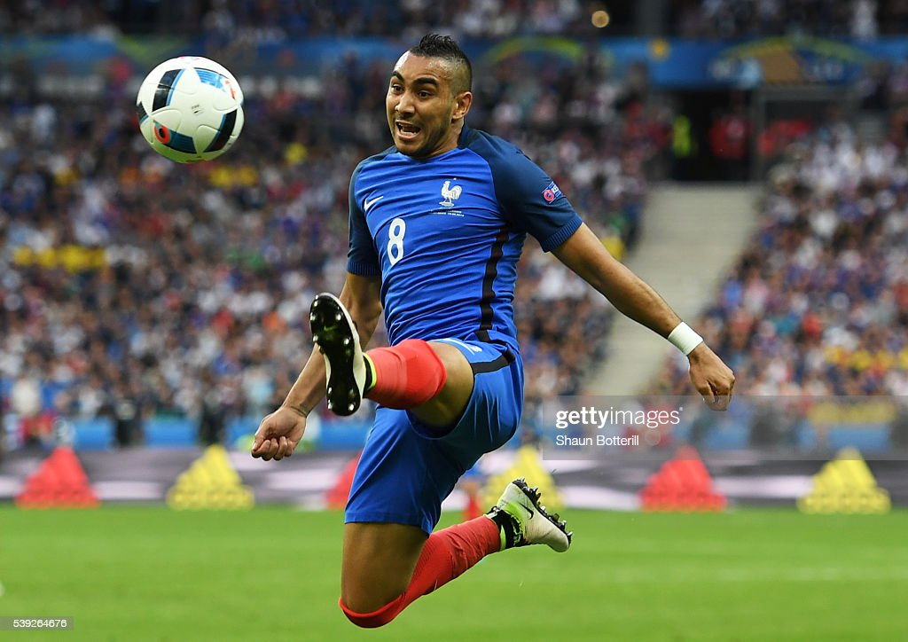 Dimitri Payet of France controls the ball during the UEFA Euro 2016 Group A match between France and Romania at Stade de France on June 10 2016 in...