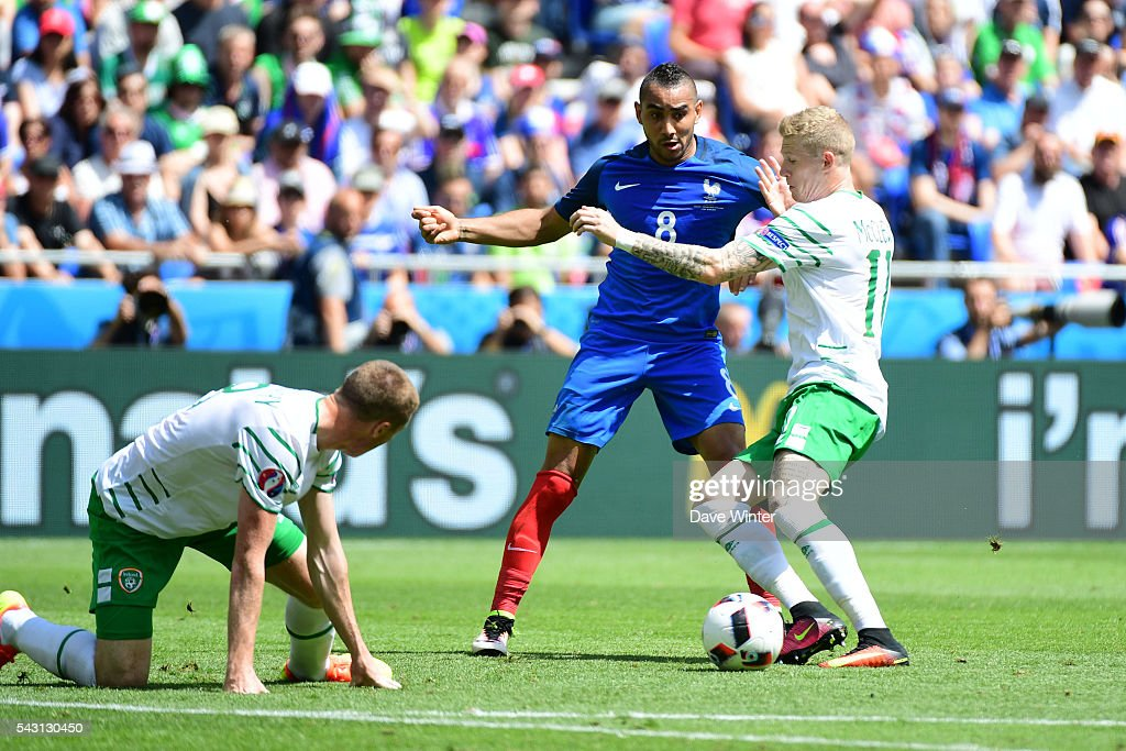 Dimitri Payet of France during the European Championship match Round of 16 between France and Republic of Ireland at Stade des Lumieres on June 26, 2016 in Lyon, France.