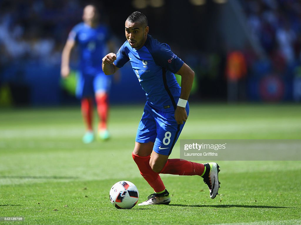 <a gi-track='captionPersonalityLinkClicked' href=/galleries/search?phrase=Dimitri+Payet&family=editorial&specificpeople=2137146 ng-click='$event.stopPropagation()'>Dimitri Payet</a> of France in action during the UEFA EURO 2016 round of 16 match between France and Republic of Ireland at Stade des Lumieres on June 26, 2016 in Lyon, France.