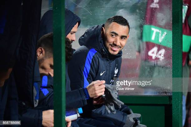 Dimitri Payet of France on the bench during the Fifa 2018 World Cup qualifying match between Bulgaria and France on October 7 2017 in Sofia Bulgaria