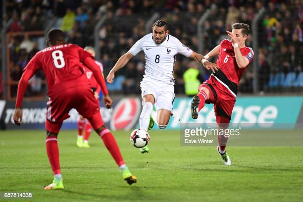 Dimitri Payet of France takes on the Luxembourg defence during the FIFA World Cup 2018 qualifying match between Luxembourg and France on March 25...
