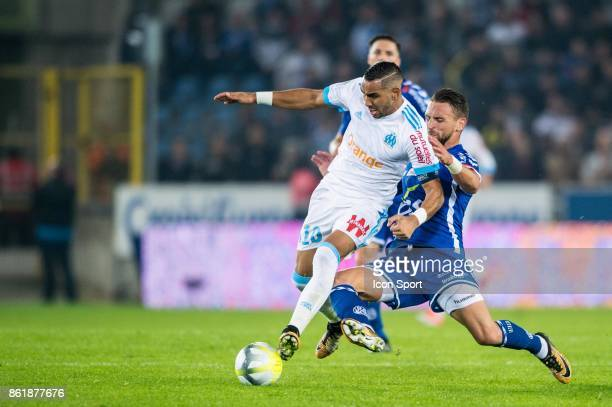 Dimitri Payet of Marseille and Anthony Goncalves of Strasbourg during the Ligue 1 match between Strasbourg and Olympique Marseille at Stade de la...