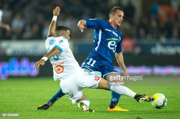 Dimitri Payet of Marseille and Dimitri Lienard of Strasbourg during the Ligue 1 match between Strasbourg and Olympique Marseille at Stade de la...