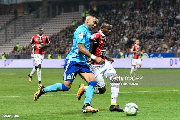 Dimitri Payet of Marseille and Jean Michael Seri of Nice during the Ligue 1 match between OGC Nice and Olympique Marseille at Allianz Riviera on...
