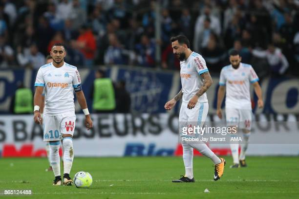 Dimitri Payet of Marseille and Kostas Mitroglou of Marseille dejected after conceding during the Ligue 1 match between Olympique Marseille and Paris...