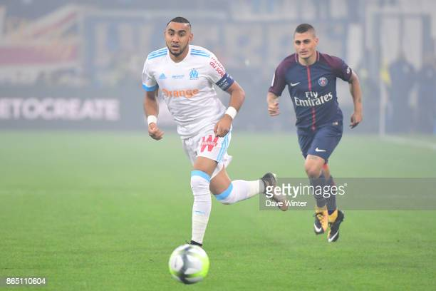 Dimitri Payet of Marseille and Marco Verratti of PSG during the Ligue 1 match between Olympique Marseille and Paris Saint Germain at Stade Velodrome...