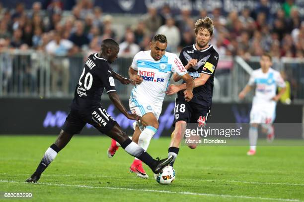 Dimitri Payet of Marseille and Youssouf Sabaly of Bordeaux during the Ligue 1 match between Girondins de Bordeaux and Olympique de Marseille at...