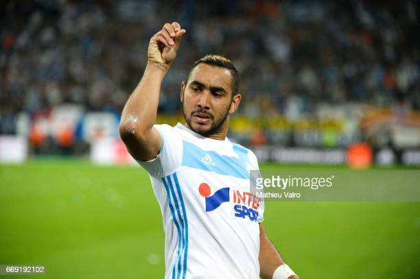 Dimitri Payet of Marseille celebrate his goal during the Ligue 1 match between Olympique de Marseille and As Saint Etienne at Stade Velodrome on...