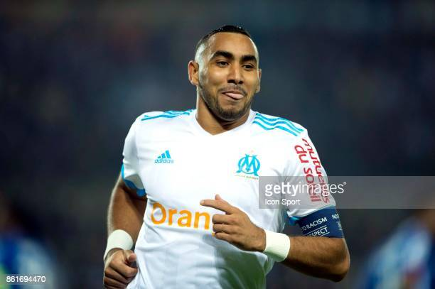 Dimitri Payet of Marseille celebrates scoring his first side goal during the Ligue 1 match between Strasbourg and Olympique Marseille at Stade de la...