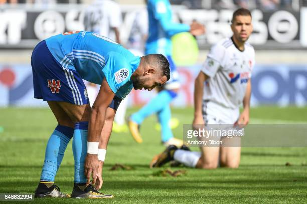 Dimitri Payet of Marseille during the Ligue 1 match between Amiens SC and Olympique Marseille at Stade de la Licorne on September 17 2017 in Amiens