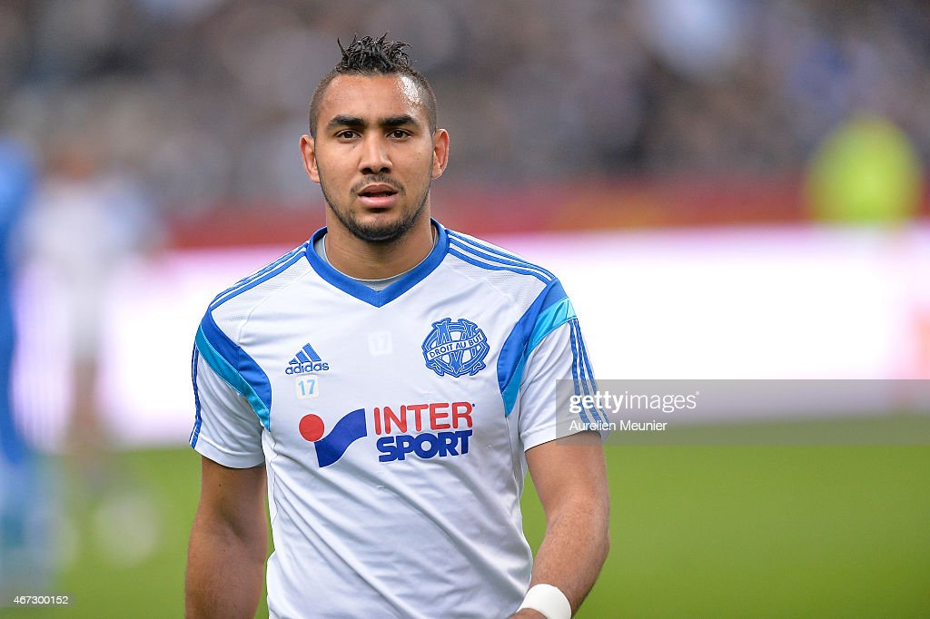 <a gi-track='captionPersonalityLinkClicked' href=/galleries/search?phrase=Dimitri+Payet&family=editorial&specificpeople=2137146 ng-click='$event.stopPropagation()'>Dimitri Payet</a> of Olympique de Marseille reacts before the French Ligue 1 game between Racing Club de Lens and Olympique de Marseille at Stade de France on March 22, 2015 in Paris, France.