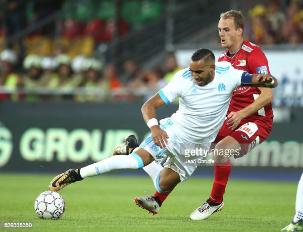 Dimitri Payet of OM and Brecht Capon of KV Ostende during the UEFA Europa League third qualifying round second leg match between KV Oostende and...