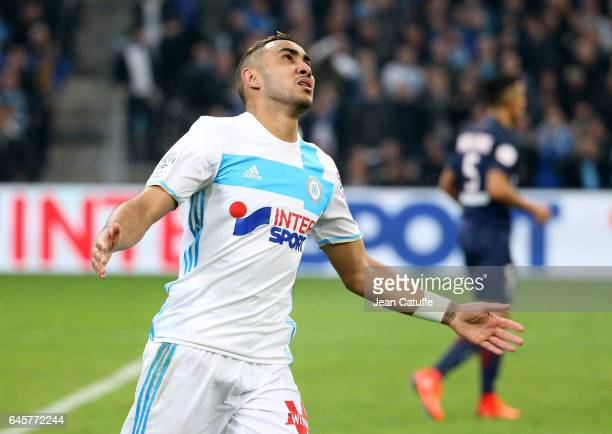 Dimitri Payet of OM reacts during the French Ligue 1 match between Olympique de Marseille and Paris Saint Germain at Stade Velodrome on February 26...
