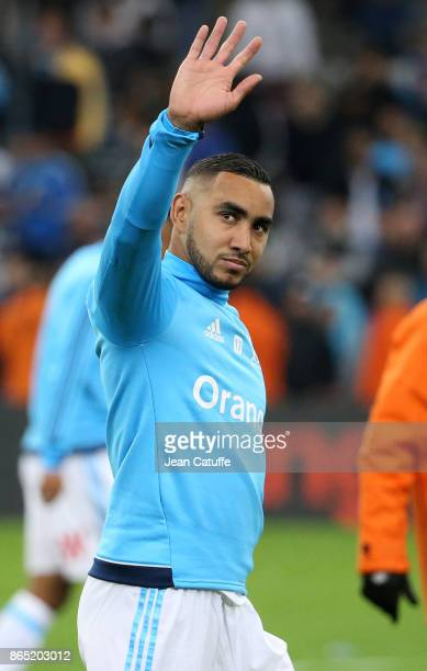 Dimitri Payet of OM salutes the fans following the French Ligue 1 match between Olympique de Marseille and Paris Saint Germain at Stade Velodrome on...