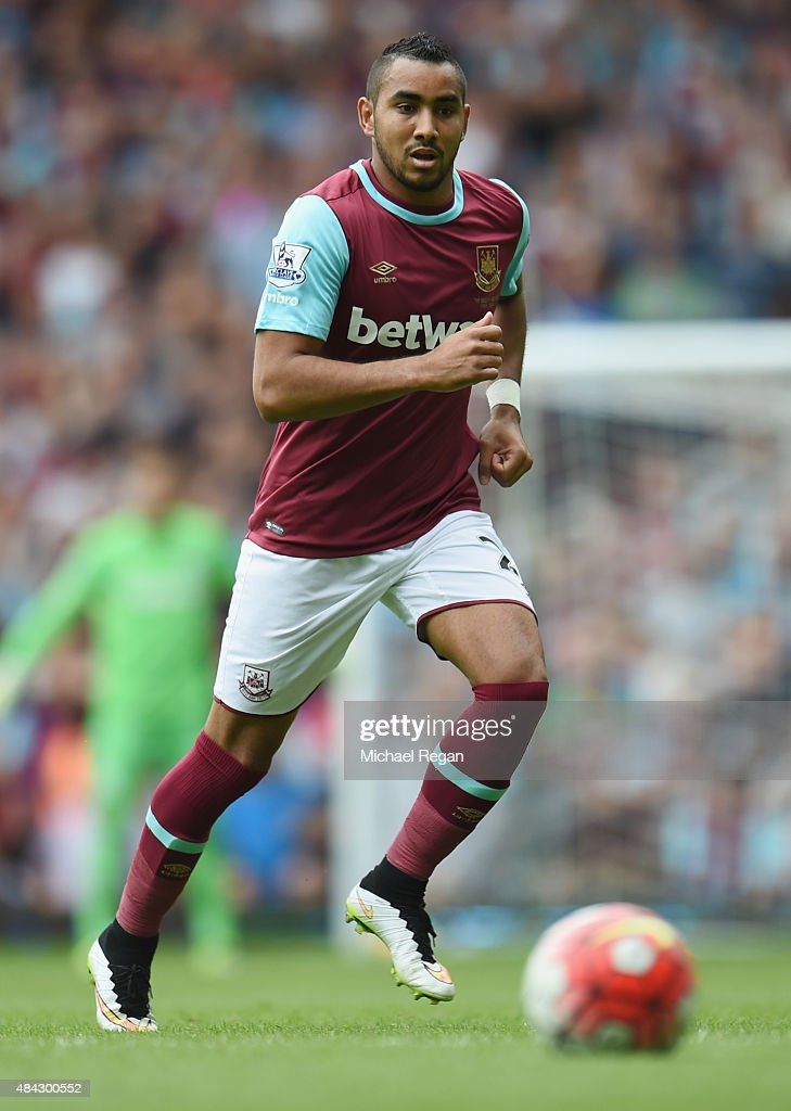 <a gi-track='captionPersonalityLinkClicked' href=/galleries/search?phrase=Dimitri+Payet&family=editorial&specificpeople=2137146 ng-click='$event.stopPropagation()'>Dimitri Payet</a> of West Ham in action during the Barclays Premier League match between West Ham United and Leicester City at the Boleyn Ground on August 15, 2015 in London, United Kingdom.