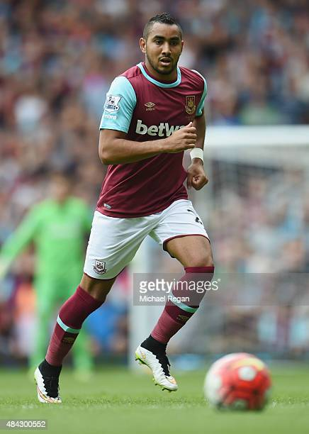 Dimitri Payet of West Ham in action during the Barclays Premier League match between West Ham United and Leicester City at the Boleyn Ground on...