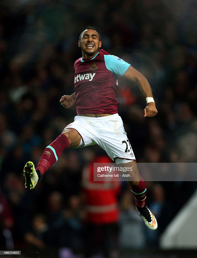Dimitri Payet of West Ham United celebrates after he scores to make it 2-0 during the Barclays Premier League match between West Ham United and Newcastle United on September 14, 2015 in London, United Kingdom.