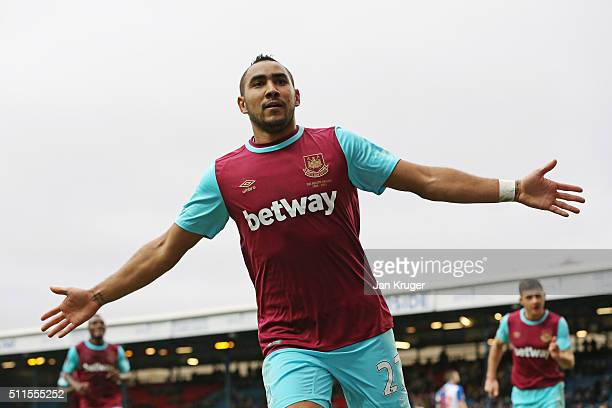 Dimitri Payet of West Ham United celebrates after scoring his team's fifth goal during The Emirates FA Cup fifth round match between Blackburn Rovers...
