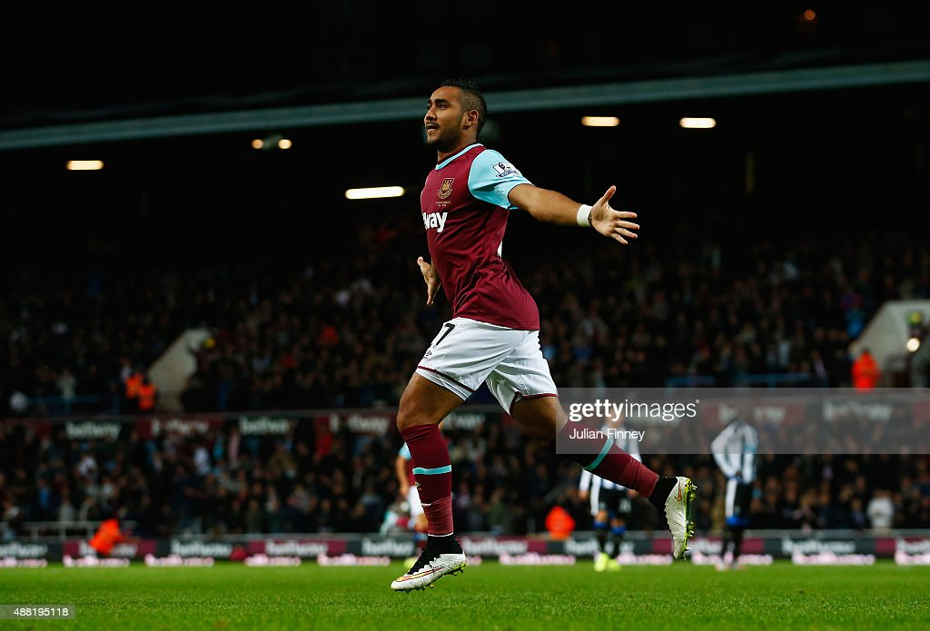 <a gi-track='captionPersonalityLinkClicked' href=/galleries/search?phrase=Dimitri+Payet&family=editorial&specificpeople=2137146 ng-click='$event.stopPropagation()'>Dimitri Payet</a> of West Ham United celebrates scoring his second goal during the Barclays Premier League match between West Ham United and Newcastle United at the Boleyn Ground on September 14, 2015 in London, United Kingdom.