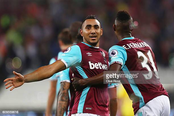 Dimitri Payet of West Ham United celebrates scoring his sides first goal with Edmilson Fernandes of West Ham United during the EFL Cup Third Round...