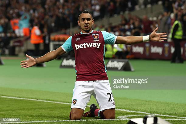 Dimitri Payet of West Ham United celebrates scoring his sides first goal during the EFL Cup Third Round match between West Ham United and Accrington...