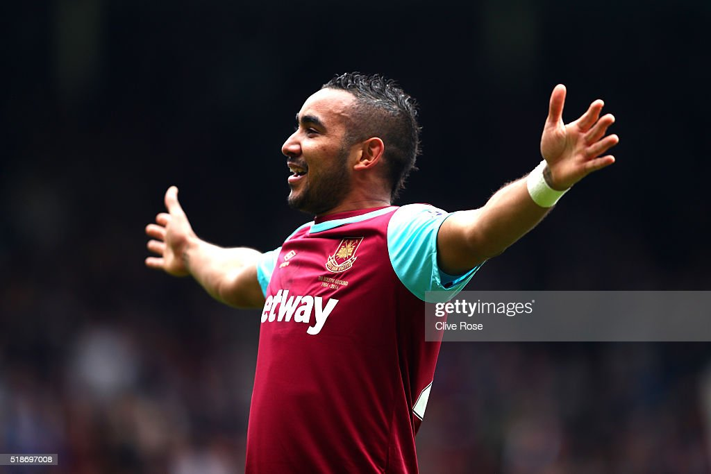 <a gi-track='captionPersonalityLinkClicked' href=/galleries/search?phrase=Dimitri+Payet&family=editorial&specificpeople=2137146 ng-click='$event.stopPropagation()'>Dimitri Payet</a> of West Ham United celebrates scoring his team's second goal during the Barclays Premier League match between West Ham United and Crystal Palace at the Boleyn Ground on April 2, 2016 in London, England.