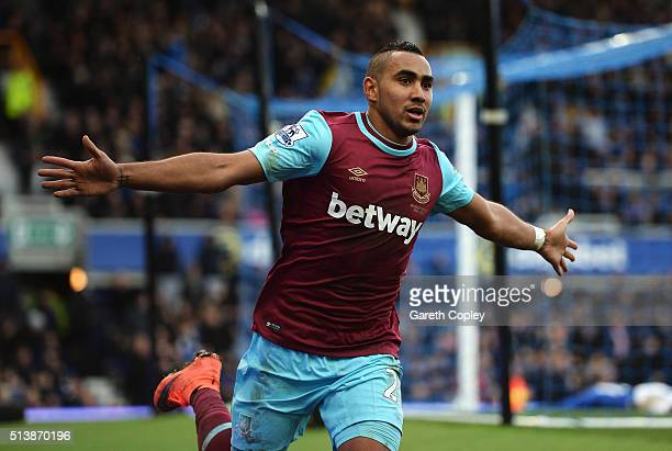 Dimitri Payet of West Ham United celebrates scoring his team's third goal during the Barclays Premier League match between Everton and West Ham...
