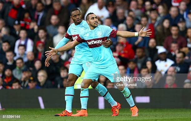Dimitri Payet of West Ham United celebrates with Diafra Sakho as he scores their first goal from a free kick during the Emirates FA Cup sixth round...