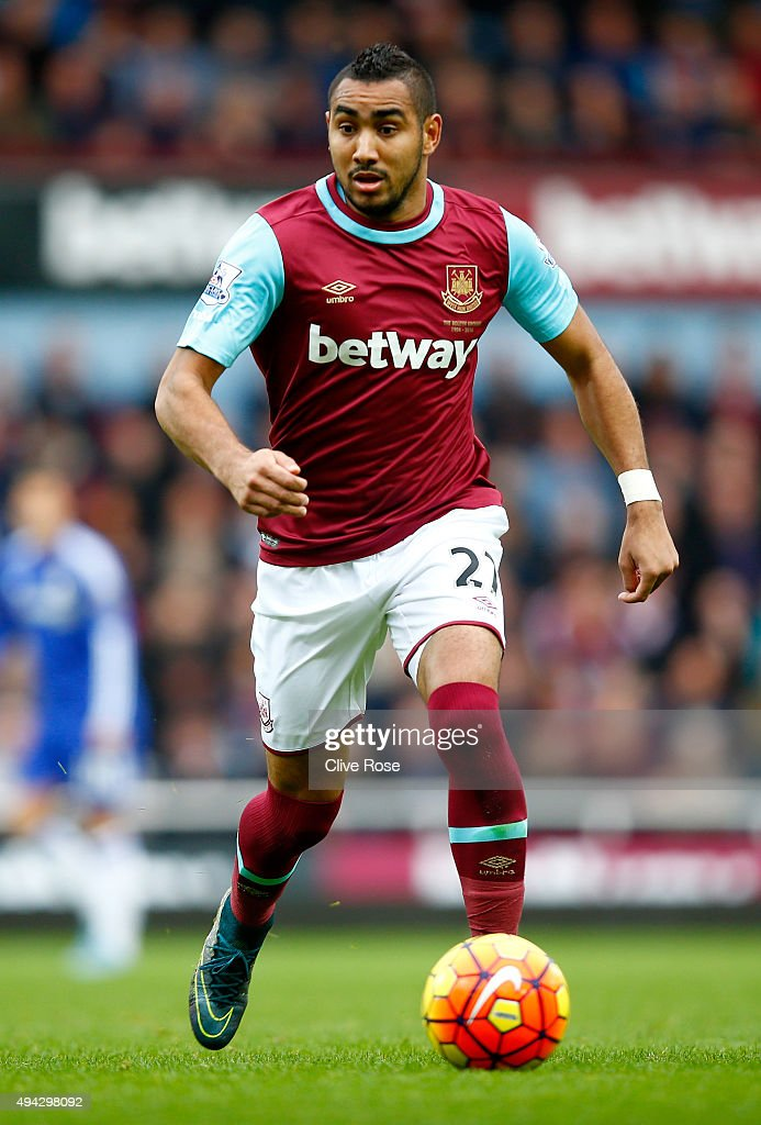 <a gi-track='captionPersonalityLinkClicked' href=/galleries/search?phrase=Dimitri+Payet&family=editorial&specificpeople=2137146 ng-click='$event.stopPropagation()'>Dimitri Payet</a> of West Ham United during the Barclays Premier League match between West Ham United and Chelsea at Boleyn Ground on October 24, 2015 in London, England.