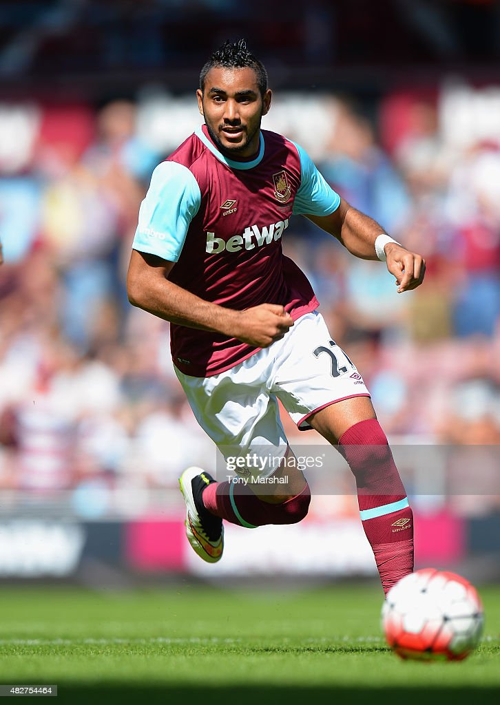 <a gi-track='captionPersonalityLinkClicked' href=/galleries/search?phrase=Dimitri+Payet&family=editorial&specificpeople=2137146 ng-click='$event.stopPropagation()'>Dimitri Payet</a> of West Ham United during the Pre Season Friendly match between West Ham Utd and SV Werder Bremen at Boleyn Ground on August 2, 2015 in London, England.