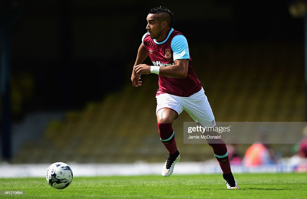 <a gi-track='captionPersonalityLinkClicked' href=/galleries/search?phrase=Dimitri+Payet&family=editorial&specificpeople=2137146 ng-click='$event.stopPropagation()'>Dimitri Payet</a> of West Ham United in action during the pre season friendly match between Southend United and West Ham United at Roots Hall on July 18, 2015 in Southend, England.