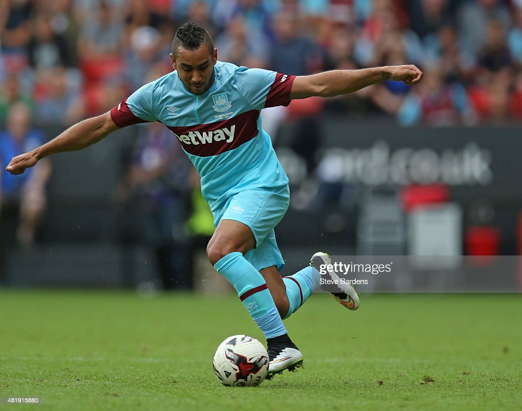 <a gi-track='captionPersonalityLinkClicked' href=/galleries/search?phrase=Dimitri+Payet&family=editorial&specificpeople=2137146 ng-click='$event.stopPropagation()'>Dimitri Payet</a> of West Ham United in action during the pre season friendly match between Charlton Athletic and West Ham United at the Valley on July 25, 2015 in London, England.