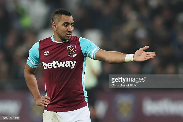Dimitri Payet of West Ham United looks on during the Premier League match between West Ham United and Hull City at London Stadium on December 17 2016...