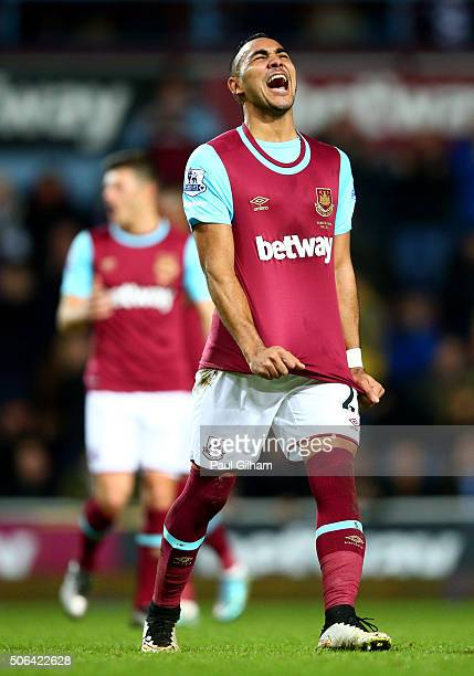 Dimitri Payet of West Ham United reacts after his free kick is saved during the Barclays Premier League match between West Ham United and Manchester...