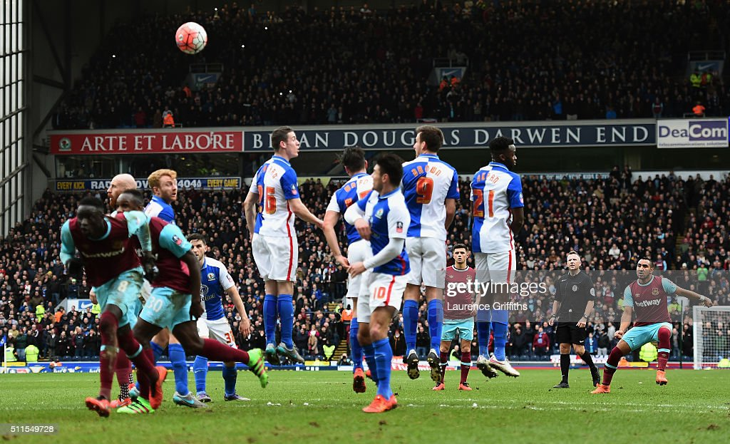 Dimitri Payet of West Ham United scores his team's second goal from a free kick during The Emirates FA Cup fifth round match between Blackburn Rovers...
