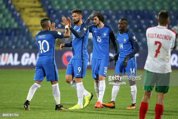 Dimitri Payet Olivier Giroud Adrien Rabiot Blaise Matuidi of France celebrate the victory following the FIFA 2018 World Cup Qualifier between...
