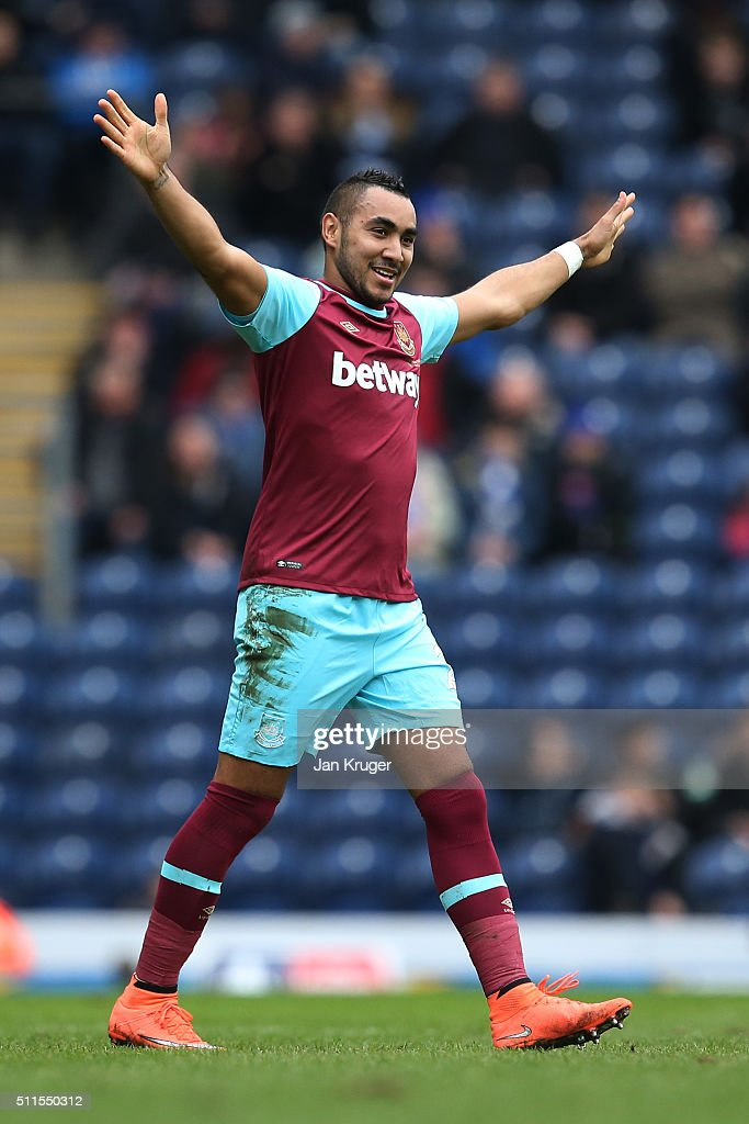 Dimitri Payetof West Ham United celebrates after scoring his team's second goal from a free kick during The Emirates FA Cup fifth round match between...