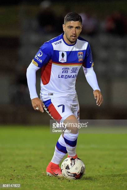 Dimitri Petratos of Newcastle controls the ball during the round of 32 FFA Cup match between Adelaide United and the Newcastle Jets at Coopers...