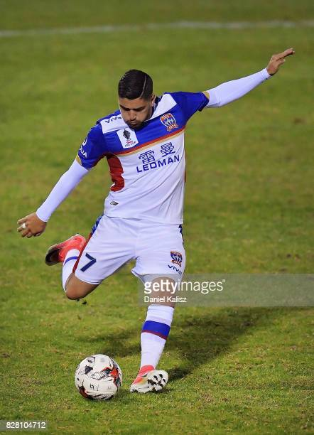Dimitri Petratos of Newcastle strikes the ball during the round of 32 FFA Cup match between Adelaide United and the Newcastle Jets at Coopers Stadium...