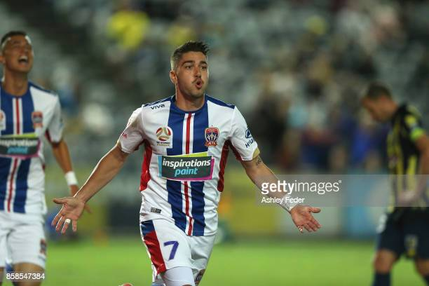 Dimitri Petratos of the Jets celebrates his goal during the round one ALeague match between the Central Coast Mariners and the Newcastle Jets at...