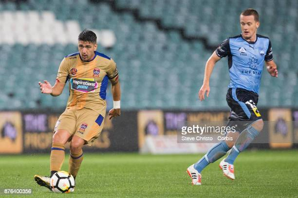 Dimitri Petratos of the Jets passes the ball during the round seven ALeague match between Sydney FC and Newcastle Jets at Allianz Stadium on November...