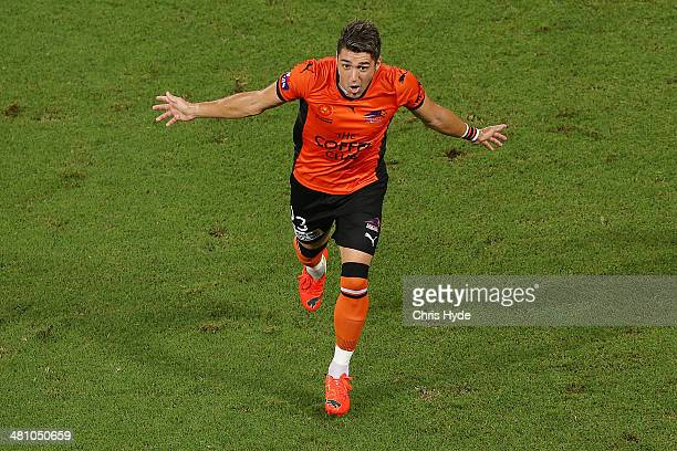 Dimitri Petratos of the Roar celebrates after scoring a goal during the round 25 ALeague match between Brisbane Roar and Melbourne Heart at Suncorp...