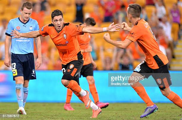 Dimitri Petratos of the Roar celebrates scoring a goal during the round 25 ALeague match between the Brisbane Roar and Sydney FC at Suncorp Stadium...