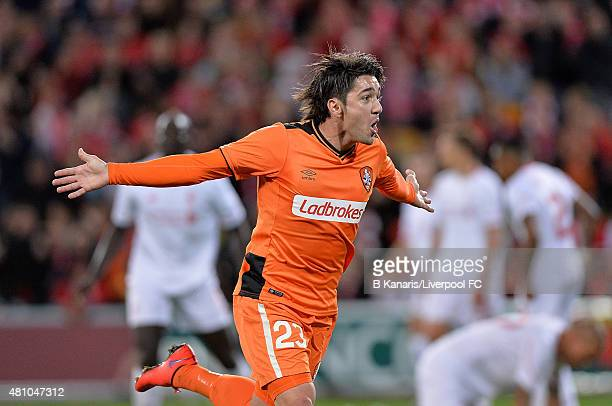 Dimitri Petratos of the Roar celebrates scoring a goal during the international friendly match between Brisbane Roar and Liverpool FC at Suncorp...