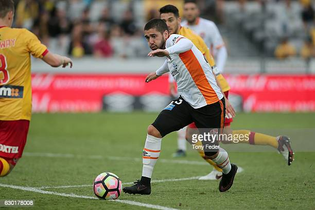 Dimitri Petratos of the Roar controls the ball during the round 11 ALeague match between the Central Coast Mariners and Brisbane Roar at Central...