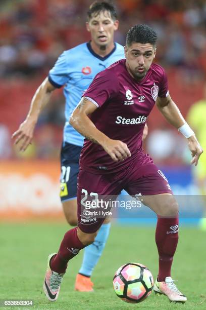 Dimitri Petratos of the Roar controls the ball during the round 18 ALeague match between the Brisbane Roar and Sydney FC at Suncorp Stadium on...