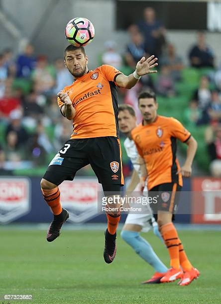 Dimitri Petratos of the Roar heads the ball during the round nine ALeague match between Melbourne City FC and the Brisbane Roar at AAMI Park on...