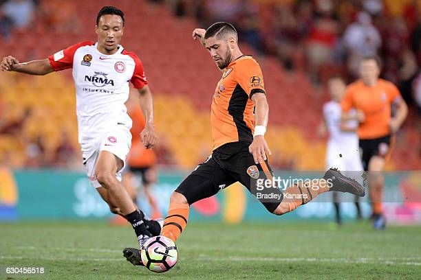 Dimitri Petratos of the Roar in action during the round 22 ALeague match between Brisbane Roar and Western Sydney Wanderers at Suncorp Stadium on...